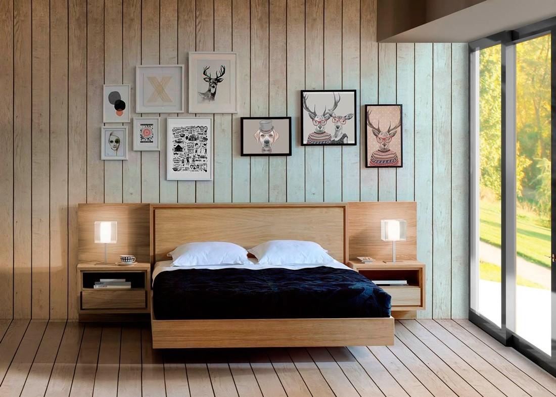 Dormitorio nordico cabecero madera iceland for Cabecero madera