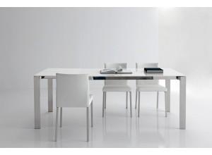 Mesa de comedor extensible PAOLA cristal extrablanco