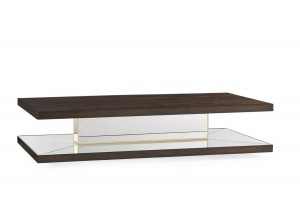 MESA DE CENTRO CLÁSICA RECTANGULAR CAOBA ESTANTE INFERIOR CON ESPEJO COCKTAIL PARTY