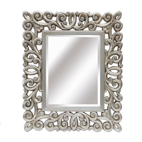 Espejo plata envejecida for Espejos con marco plateado