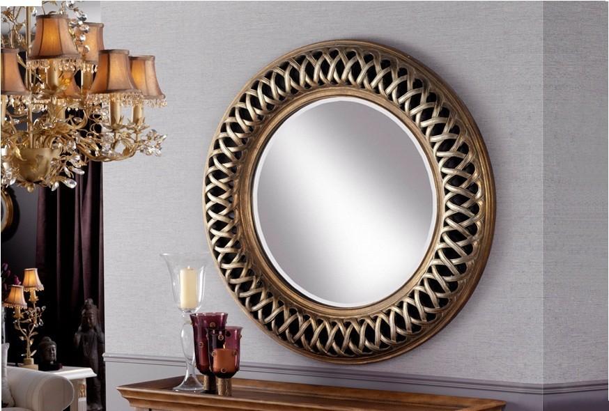 Espejo redondo en plata y oro for Espejo redondo vintage