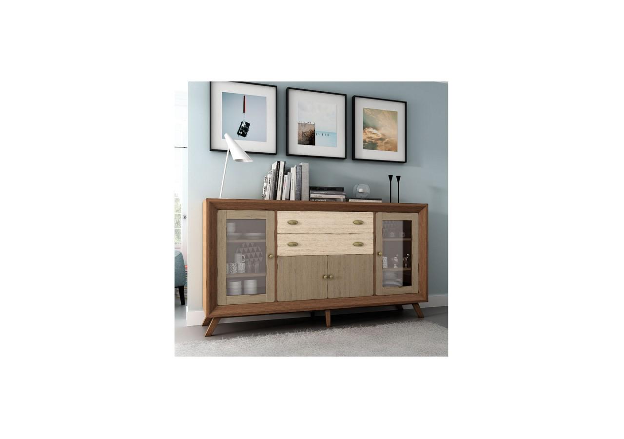 Aparador vintage paris puertas de cristal mixto cuorebello for Paris muebles comedor