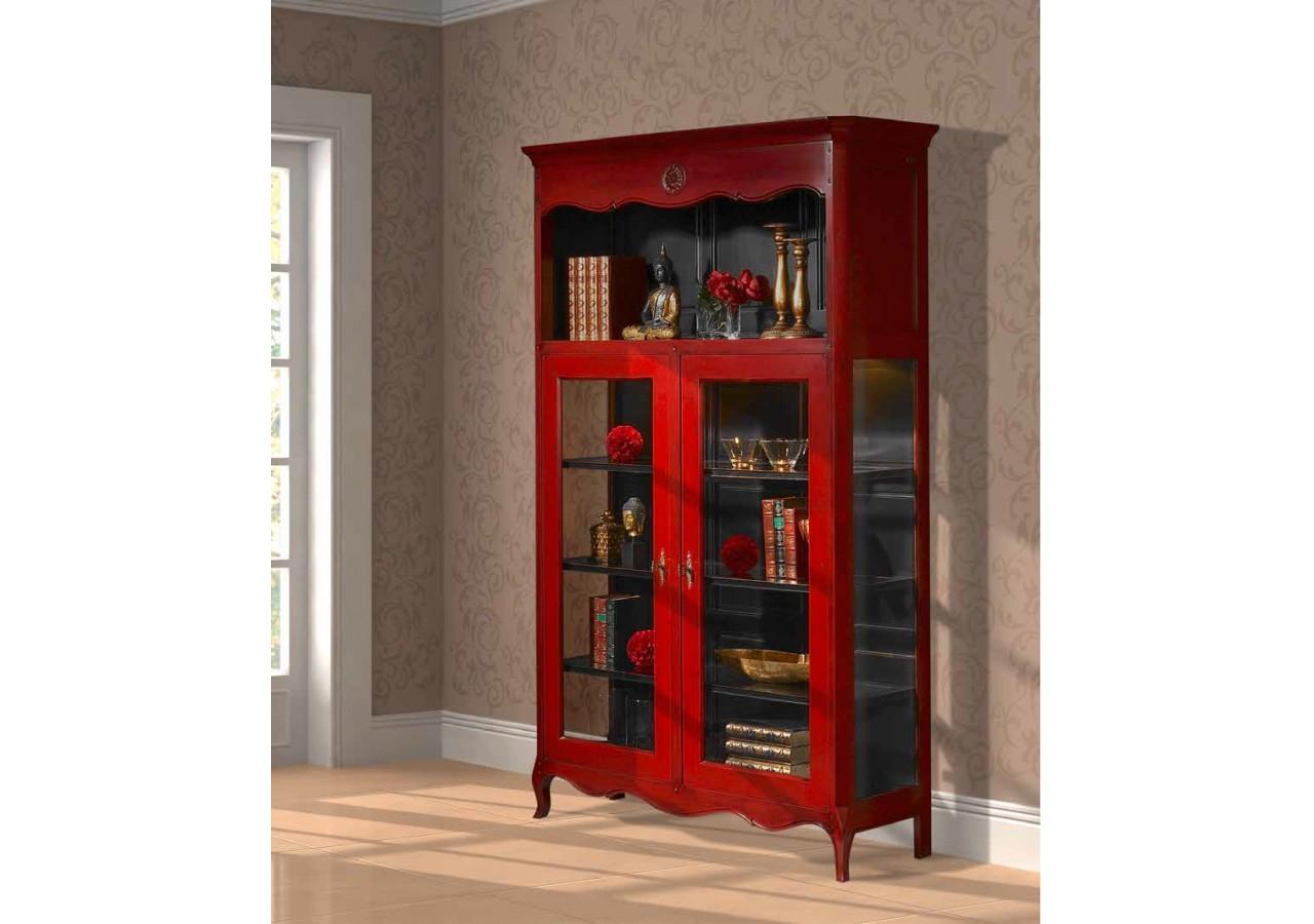 Vitrina 2 puertas Vintage Roja VERSALLES