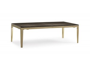 MESA DE COMEDOR MODERNA EXTENSIBLE TAPA EUCALIPTO DETALLES CUERO Y METAL ORO THE ARISTOCRAT DINING TABLE