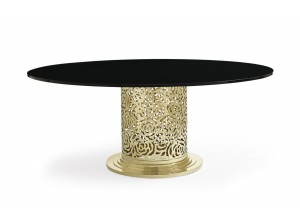 MESA DE COMEDOR MODERNA REDONDA TAPA DE CRISTAL NEGRO BASE DE METAL THE ROSE DINING TABLE