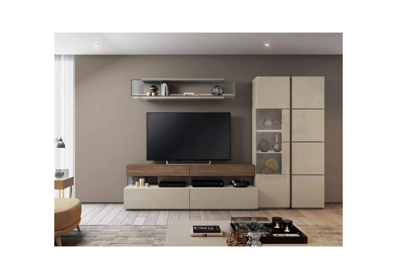Mueble De Tv Moderno Por Módulos Madera De Nogal Lacada Holf