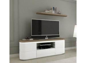 MUEBLE TV MODERNO CON BASE CON ILUMINACIÓN LED Y ESTANTE DE PARED ROUSE RE074