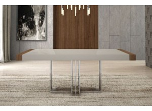 MESA COMEDOR EXTENSIBLE RECTANGULAR DE 180CM MADERA Y BASE DE ACERO INOXIDABLE YORK