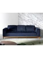 Sofá tres plazas terciopelo azul KF2021-3P