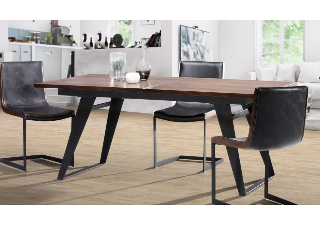 Mesa de comedor extensible porthos madera noble y mesa metálica