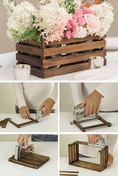 tutorial cajonera reciclada centro de mesa para boda