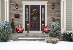decoración puertas en navidad