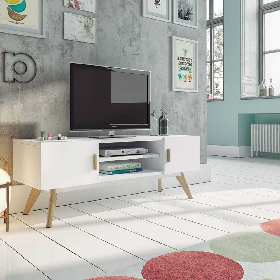 Mueble de tv blanco estilo nórdico